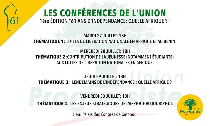 Image pour LES CONFÉRENCES DE L'UNION.1ère Edition. Mercredi 28 juillet 2021