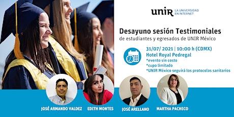 Sesión Testimoniales de estudiantes de UNIR México tickets