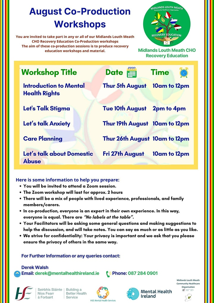 Co-Production Workshop - Introduction to Mental Health Rights image
