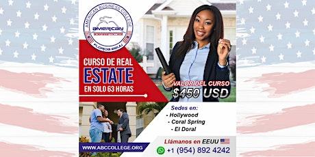 Curso de Real Estate en Español, Inscripciones abiertas entradas