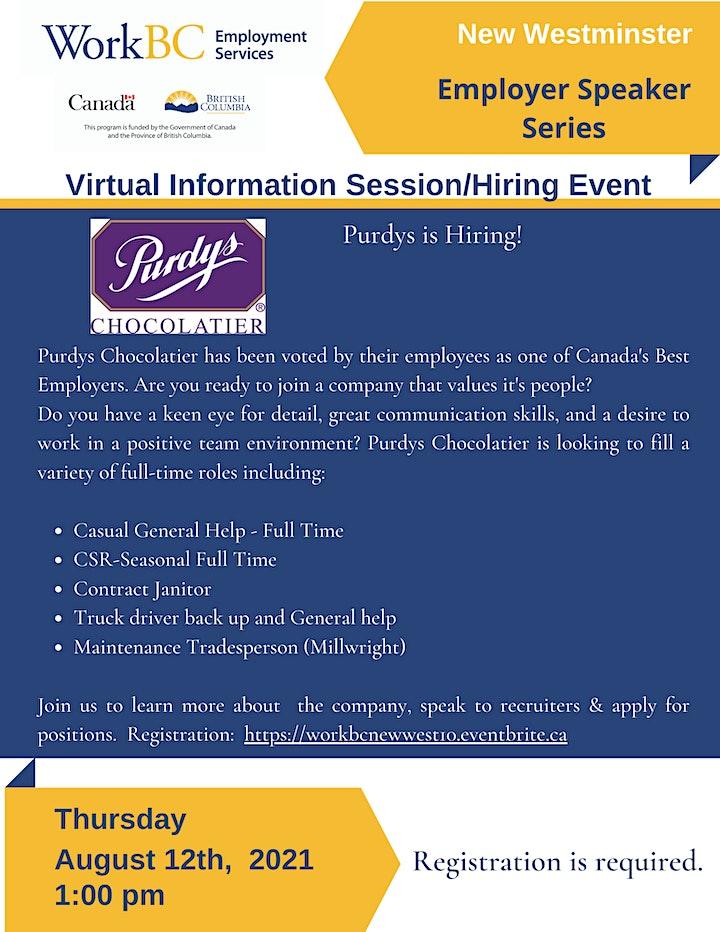 PURDYS Chocolatier Info Session & Hiring Event image