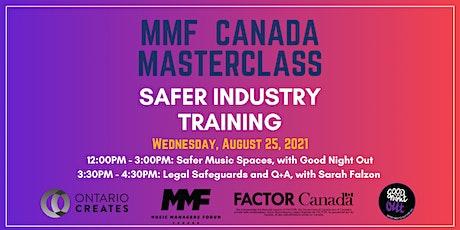 MMF CANADA MASTERCLASS: Safer Industry Training tickets