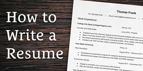 Resume Writing and Job Search Workshop tickets