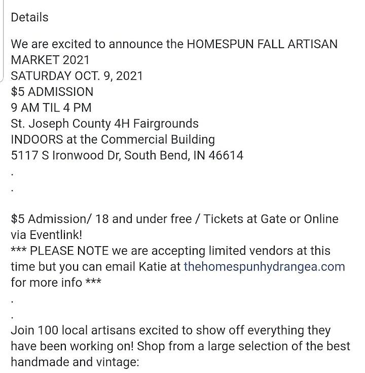 The Homespun Fall Artisan Market 2021 image