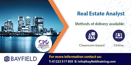 Bayfield Training - Real Estate Analyst (Financial Modelling in Excel) tickets