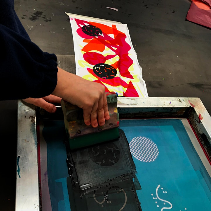 Screen print and foil onto fabric image