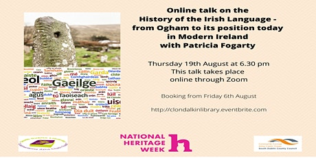 Online talk on the  History of the Irish Language  with Patricia Fogarty tickets