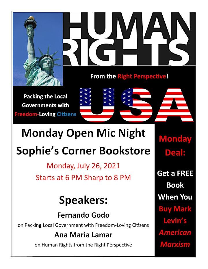Monday Open Mic Night at Sophie's Corner Bookstore image