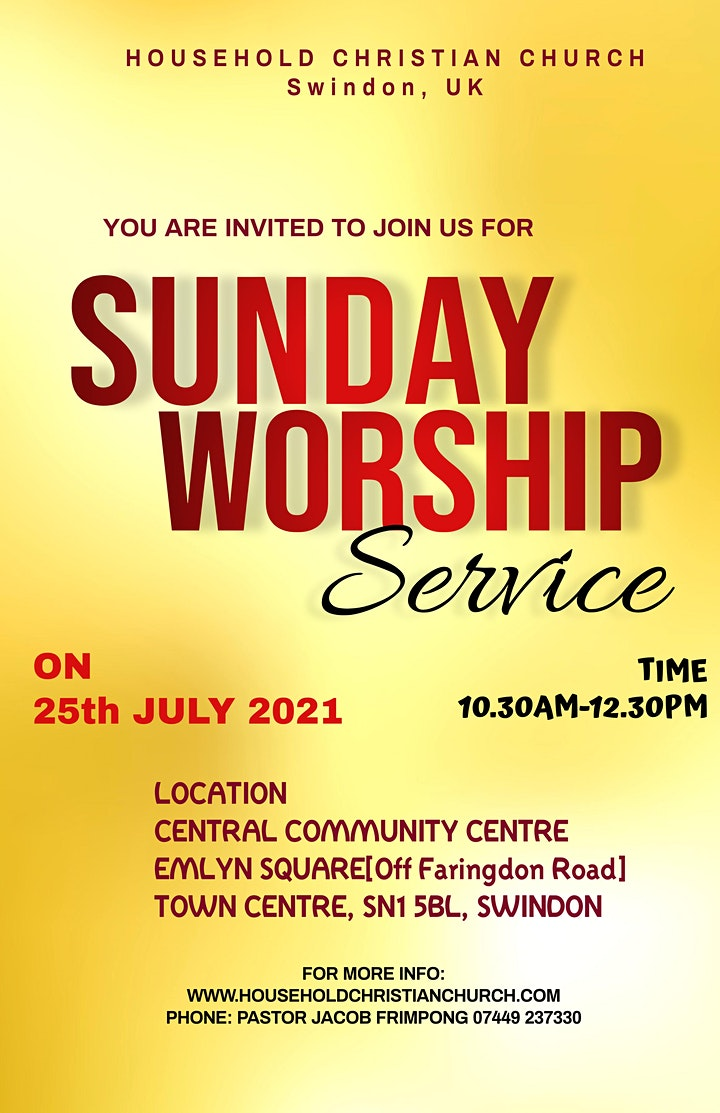 Sunday Worship Service @ Central Community Centre, Swindon image