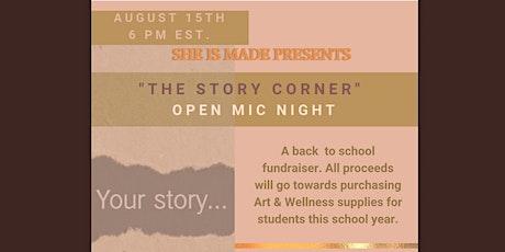 """The Story Corner""  Virtual Open Mic Night tickets"