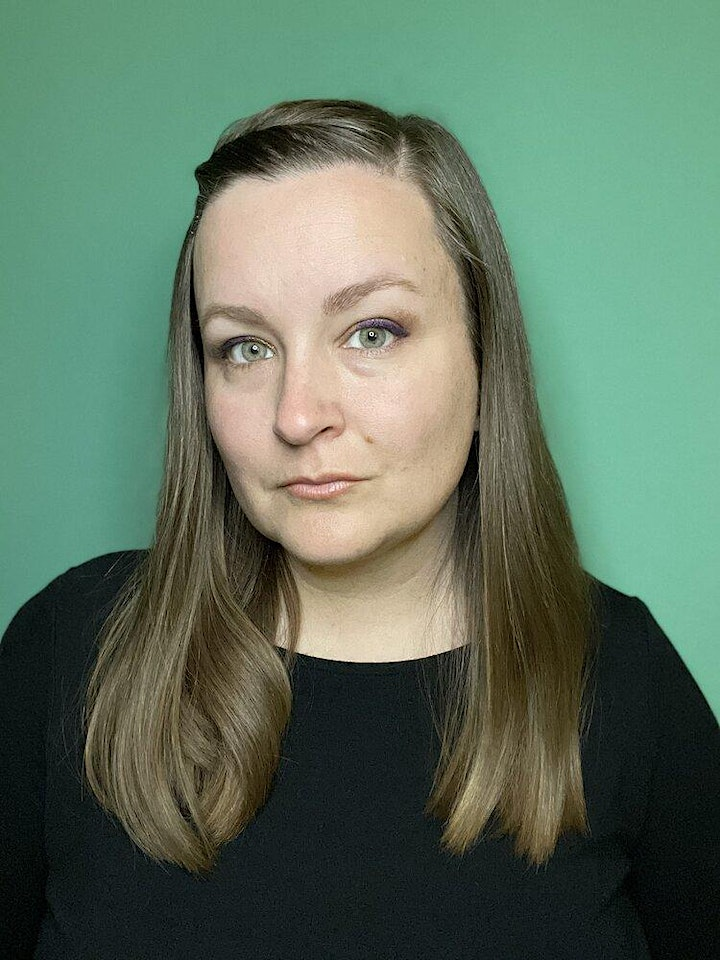 Author portrait of Kiersten White showing a person with long brown hair and a black shirt against a green backdrop