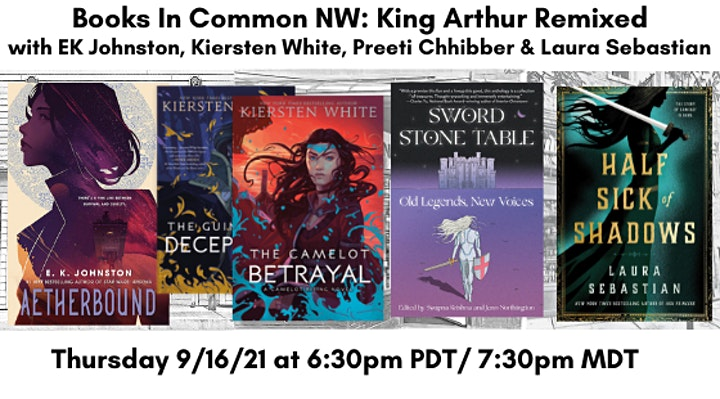 A banner featuring the book covers for Aetherbound, The Guinevere Deception, The Camelot Betrayal, Sword Stone Table, and Half Sick of Shadows along with the date of the event and featured authors names.
