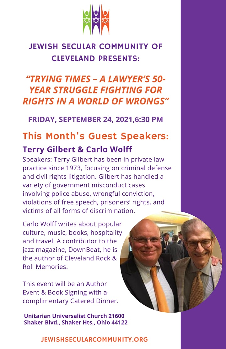Shabbat Speaker Series with The Jewish Secular Community of Cleveland image