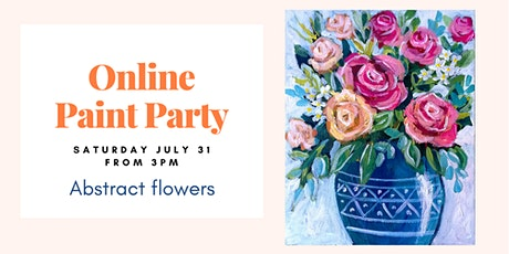 Abstract flowers. Online Paint&Sip Party tickets