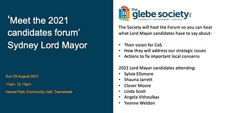 'Meet the Candidates- Sydney Council  Elections  2021 tickets