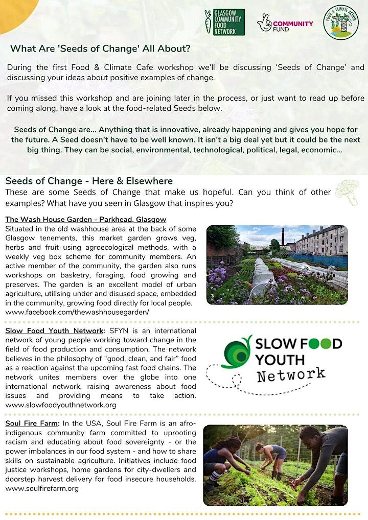 Food & Climate Cafe Glasgow North - Seeds of Change. image