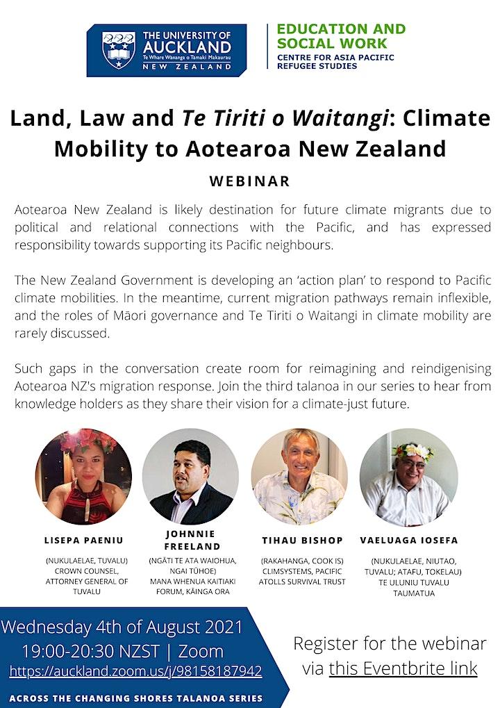 Land, Law and Te Tiriti o Waitangi: Climate Mobility to Aotearoa NZ image