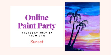 Sunset. Online Paint&Sip Party tickets