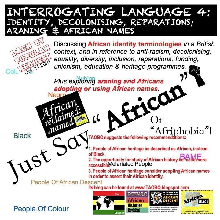 MondayXHS2021 Interrogating Language 4: Identity, Decolonising, Reparations image