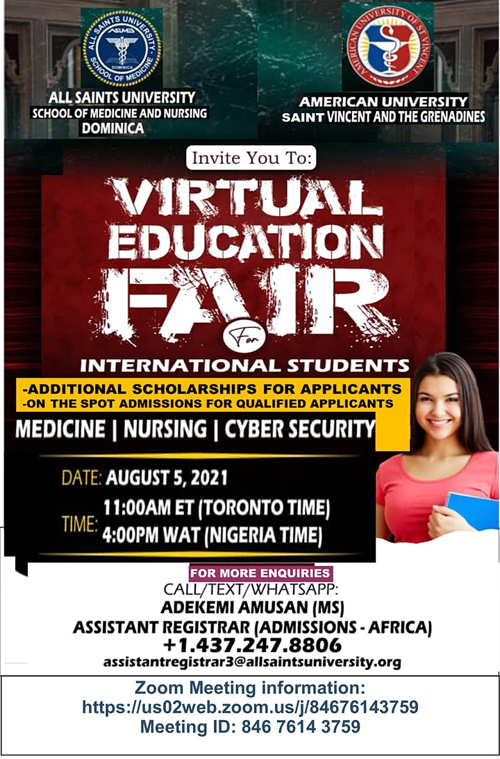 VIRTUAL EDUCATION FAIR FOR INTERNATIONAL STUDENTS image