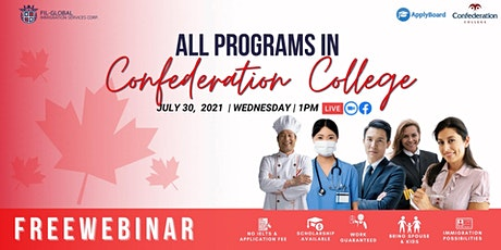 FREE WEBINAR EVENT STUDY IN CANADA ALL PROGRAMS WITH CONFEDERATION COLLEGES tickets