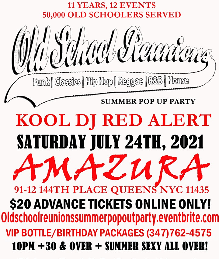 The Official Oldschool Reunions SUMMER POP UP PARTY W/ KOOL DJ Red Alert image