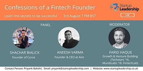 Confessions of a Fintech startup founder ft. Curve.com & Aire.io founders tickets