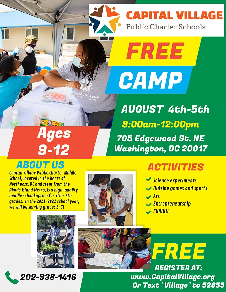 FREE TWO-HALF DAY CAMPS @CAPITAL VILLAGE PCS image