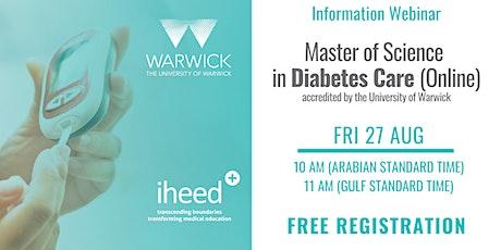 MSc Diabetes: University of Warwick - Info Webinar - MENA Aug 2021 tickets