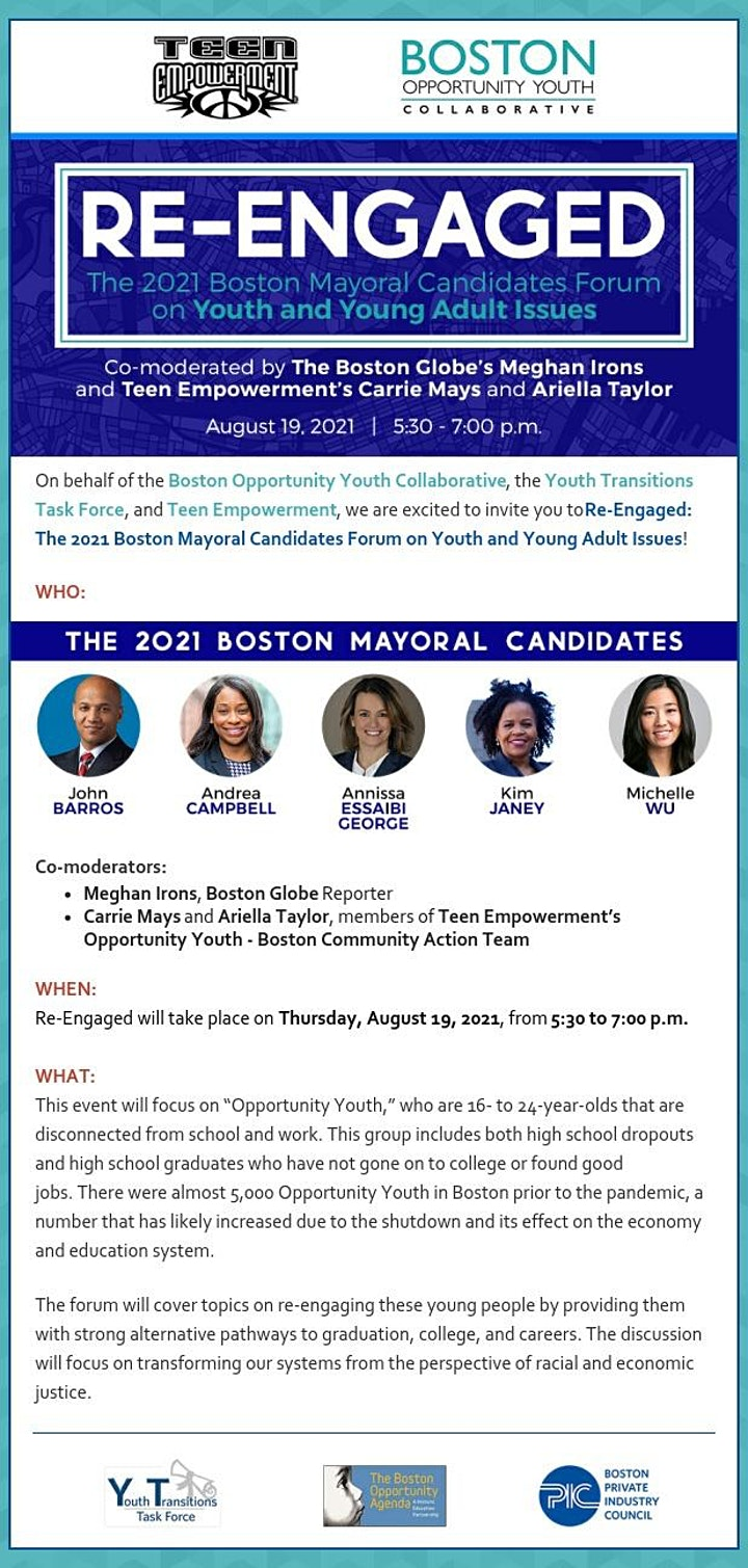 Re-Engaged: 2021 Mayoral Candidates Forum on Youth and Young Adults image