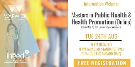 Masters in Public Health: University of Warwick - Info Webinar Aug 24 2021 tickets