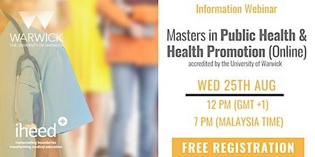 Masters in Public Health: University of Warwick - Info Webinar Aug 25 2021 tickets