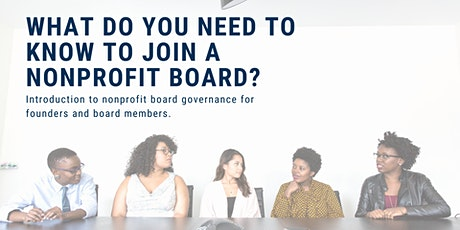 What do you need to know to join a nonprofit board? tickets