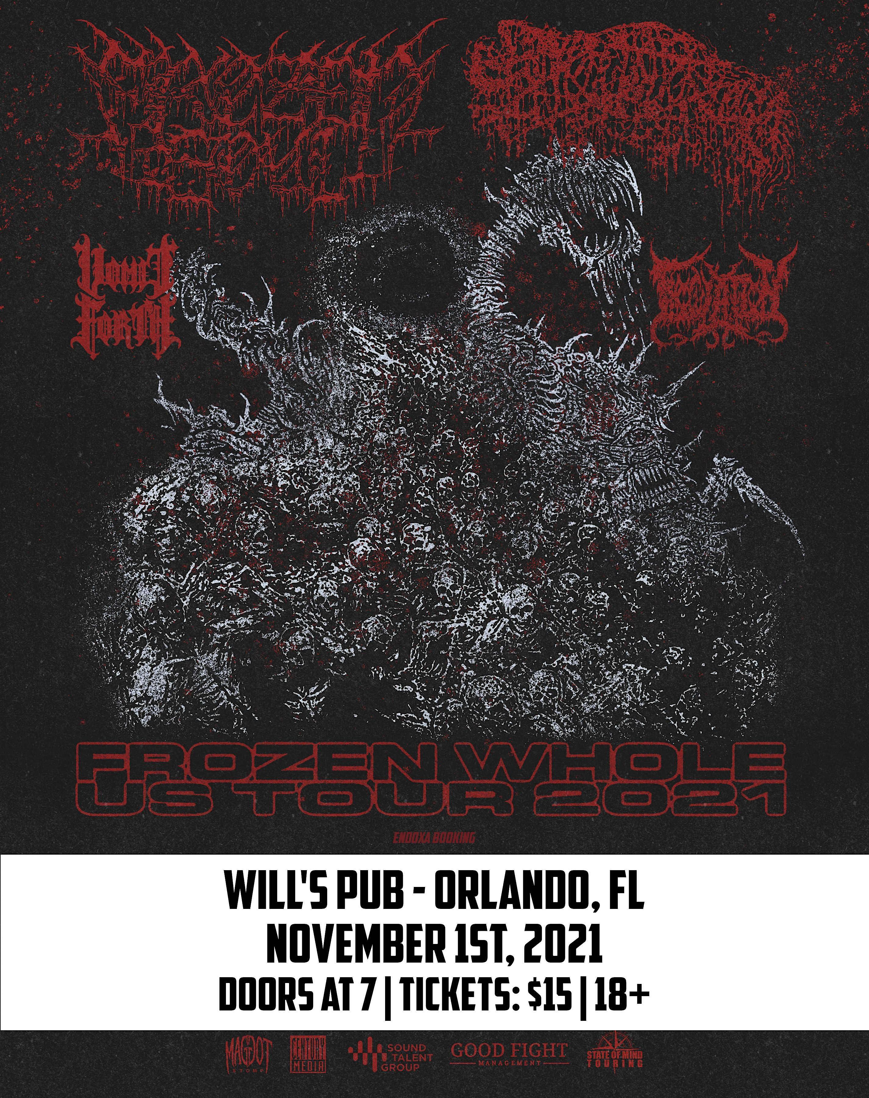 Frozen Soul, Sanguisugabogg, Vomit Forth, Innoculation, and Bodybox in Orlando at Will's Pub