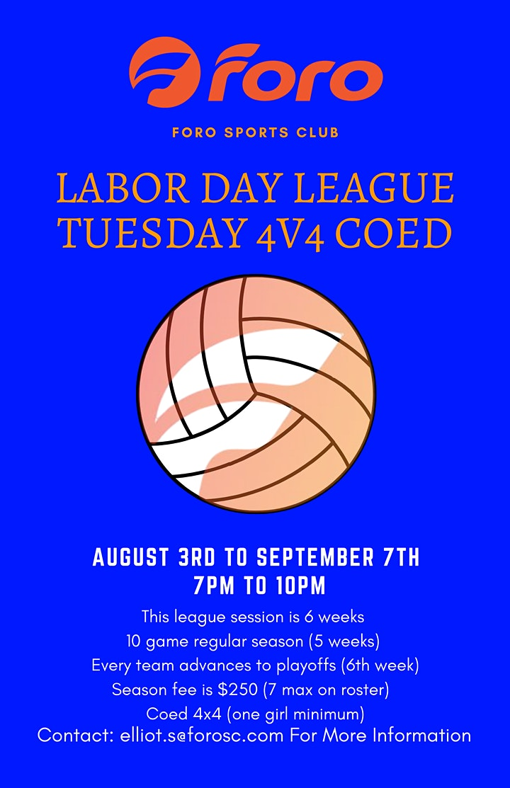 Labor Day League - Tuesdays Coed 4v4 Sand Volleyball image