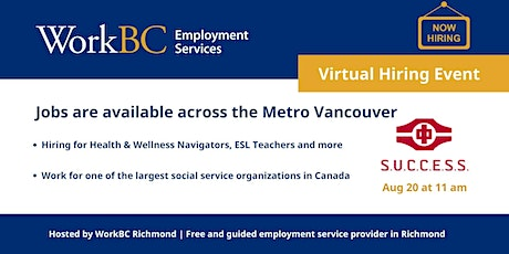 Jobs are available across the Metro Vancouver | Social Service Industry tickets