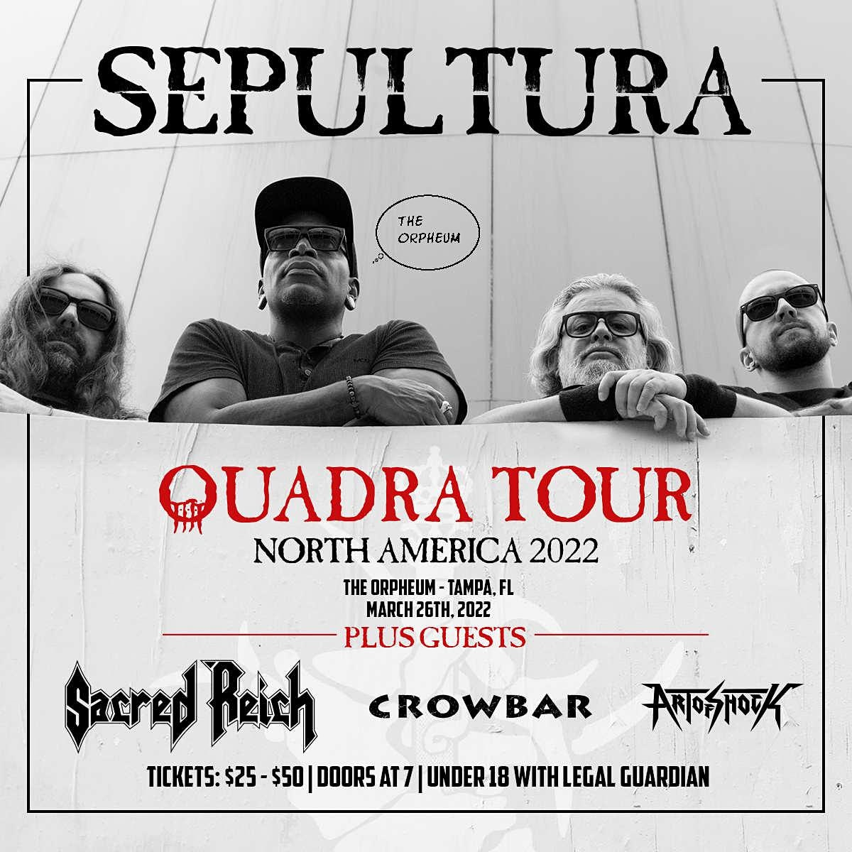 Sepultura, Sacred Reich, Crowbar, and Art of Shock in Tampa at the Orpheum