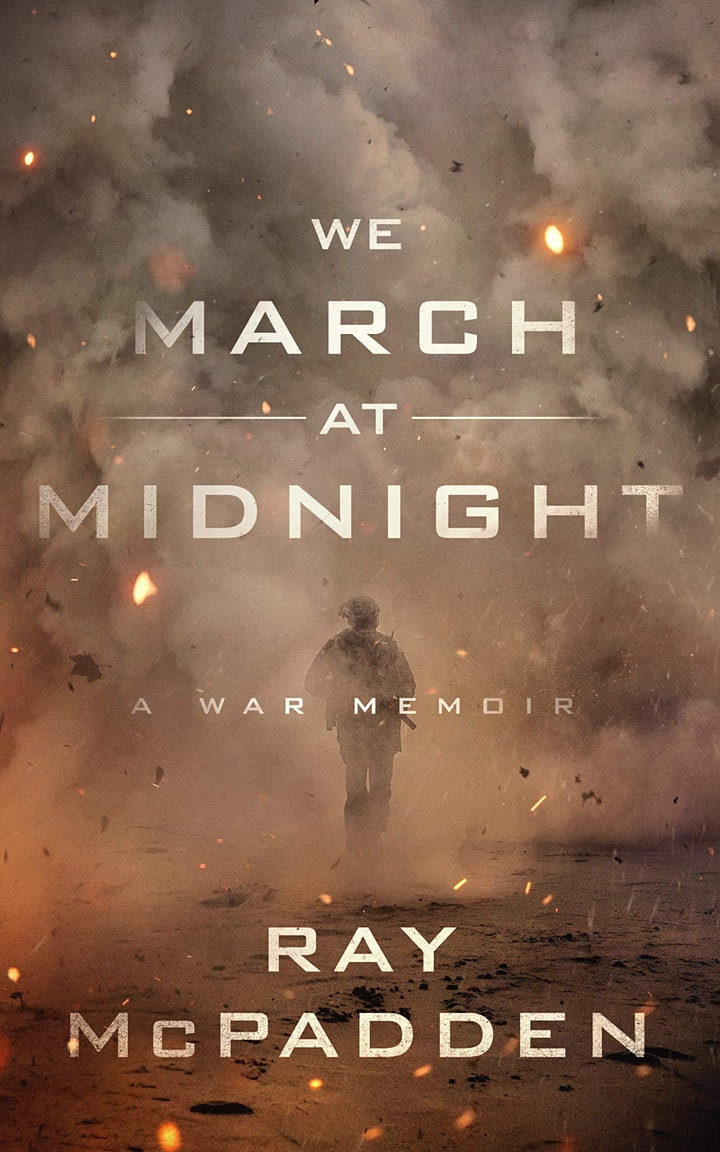 Cover image for We March At Midnight featuring a lone soldier walking through a cloud of smoke