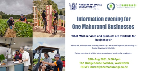 Information Evening for Businesses with the Ministry of Social Development tickets