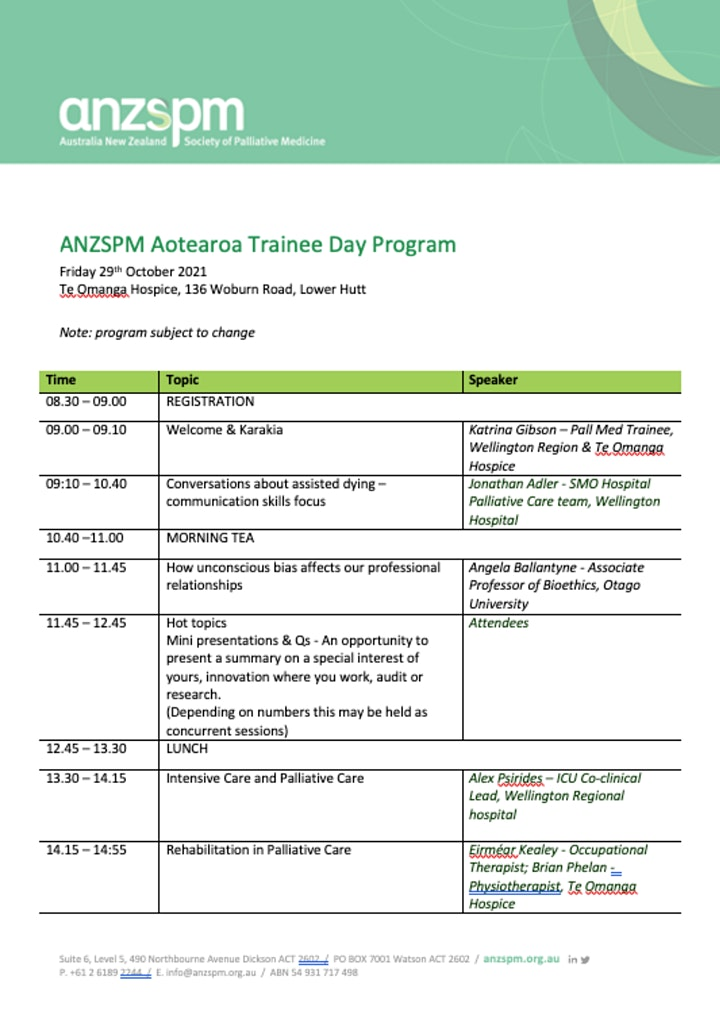ANZSPM Aotearoa October 2021 Trainee and New Fellow Day image