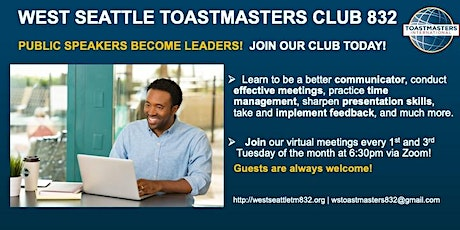 Public Speaking and Leadership @ West Seattle Toastmasters tickets