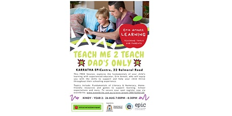 DAD'S SPECIAL Teach Me 2 Teach Parent Workshop (Kindy-Year 2) tickets