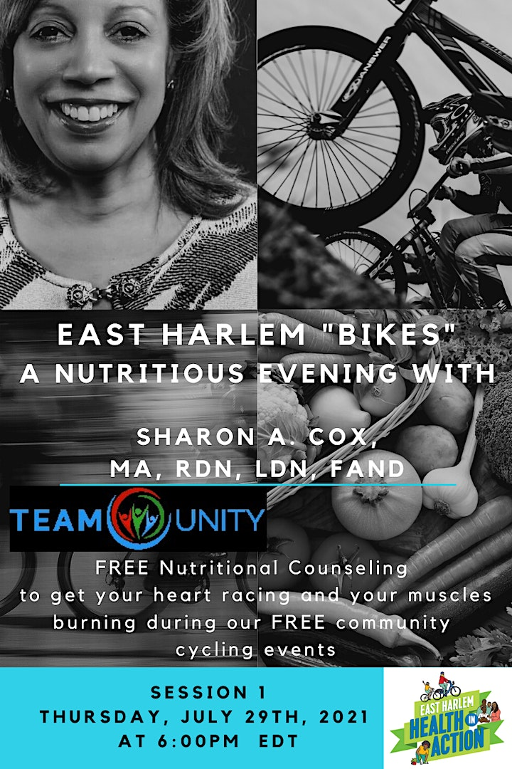 """East Harlem """"Bikes""""-- A Nutritious  Evening with Sharon Cox image"""