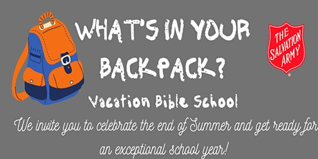 What's In Your Back pack Vacation Bible School tickets