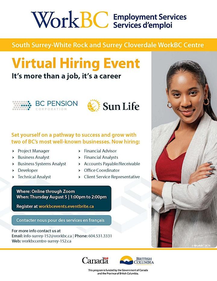 WorkBC  virtual job fair with BC Pension Corporation and Sun Life Financial image