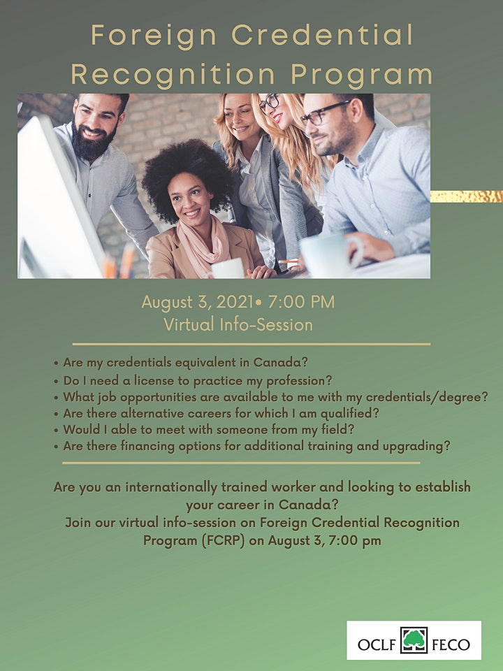 Foreign Credential Recognition Program Info Session image