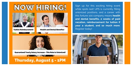 Now Hiring! Paid Vacation, Health Benefits & Tuition Reimbursement with UPS tickets