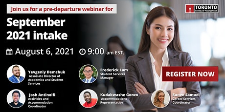 Join us for a pre-departure webinar for September 2021 intake students tickets