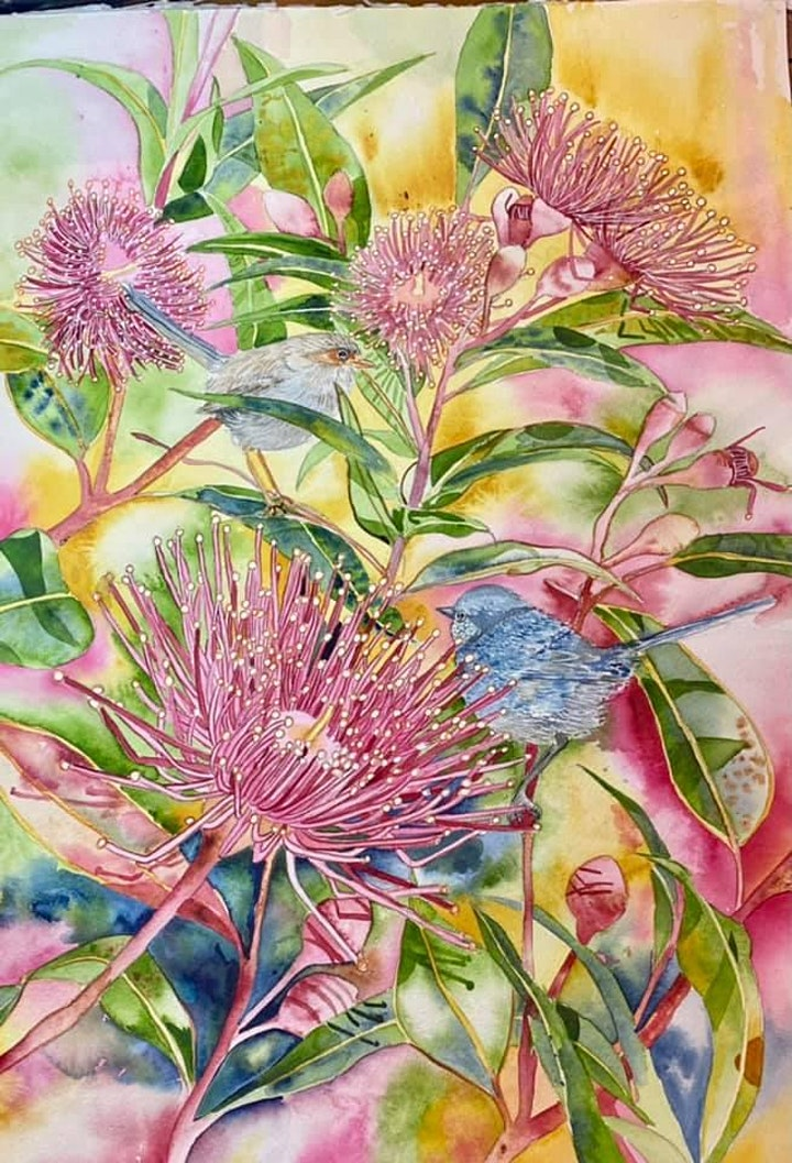 The Friday Gallery Watercolour painting online class: Eucalyptus Flowers image