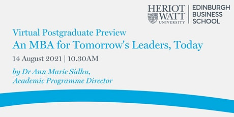Virtual PG Preview - An MBA for Tomorrow's Leaders, Today tickets